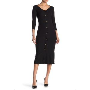 Velvet Torch ButtonFront Ribbed Sweater Midi Dress